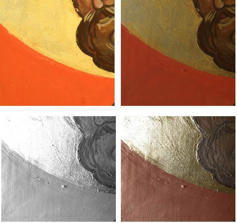 Figure 3: Icon, replica, detail of gold gilded area. Clockwise from top left, digital image, RTI visualization in default, and specular enhancement rendering mode.