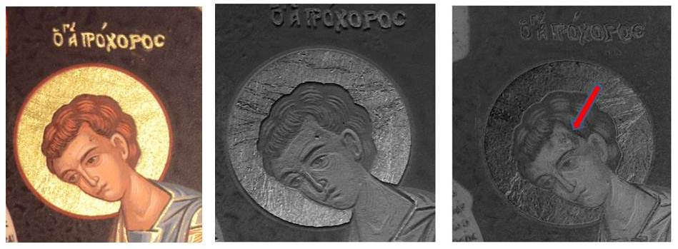 Figure 5: Detail, icon, replica.  Comparison of digital image (left), RTI visualization (middle) and IR-RTI (right) visualization.