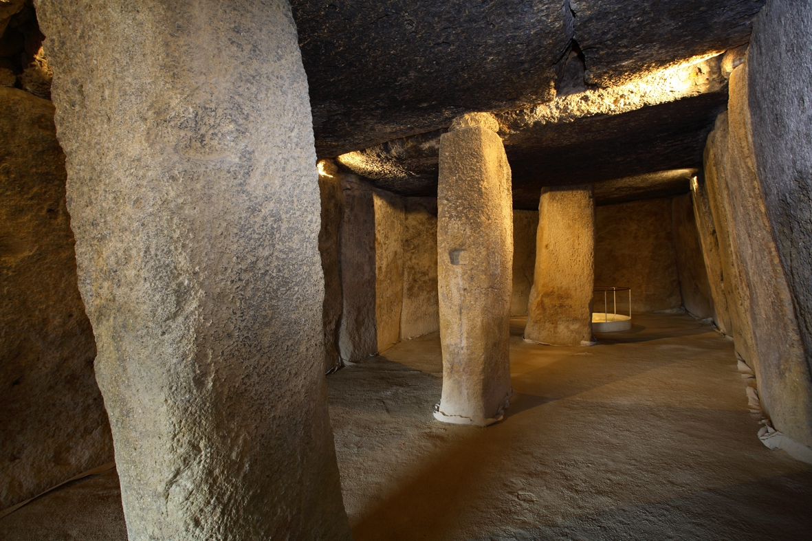 The interior of the dolmen of Menga, the largest dolmen known on the Iberian Peninsula to date (Antequera, Málaga, Spain). Photography courtesy of Dr. Leonardo García Sanjuán.