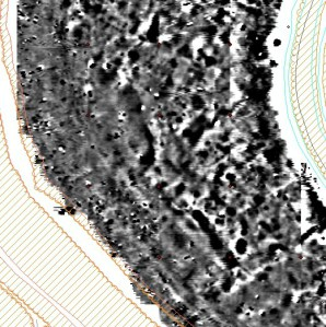 Detail of the results of the magnetometry from the Outer Bailey - Kris Strutt
