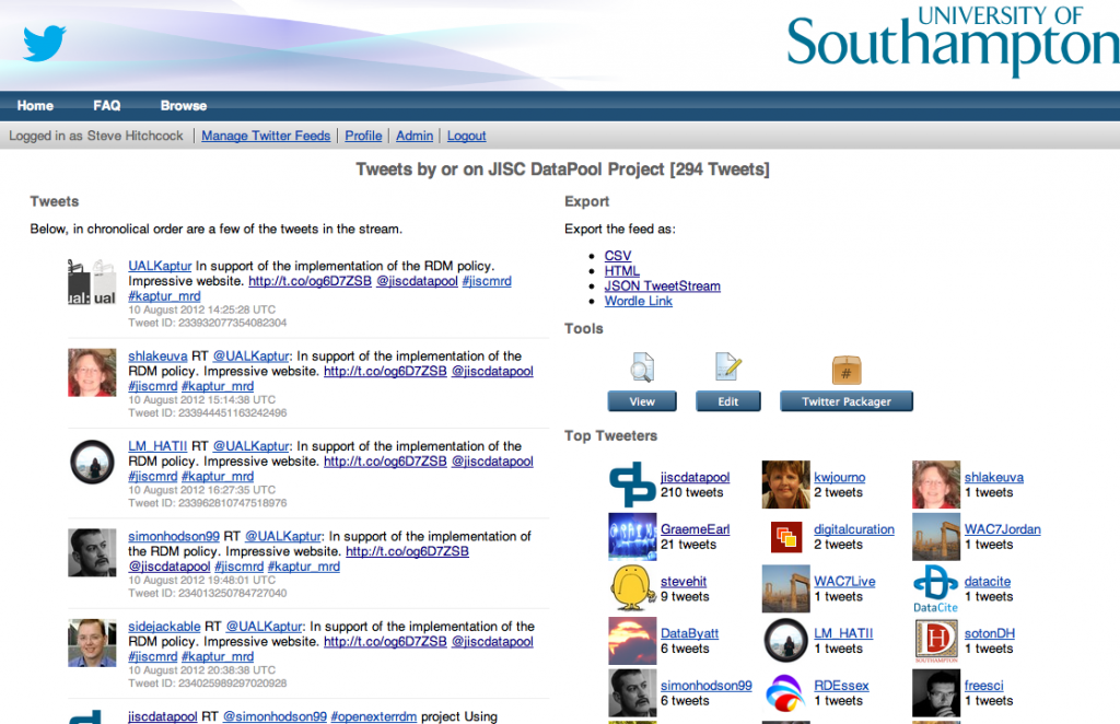 Screenshot of Tweepository: jiscdatapool tweet collection