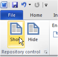 Show MS Word Add-in for repository deposit