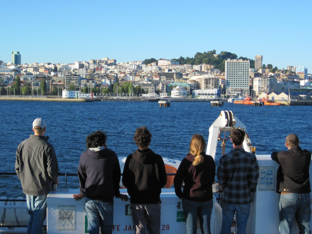 Members of the science party say goodbye to Vigo as we head out to sea.