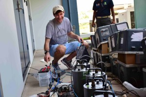 Huddle testing seismometers at the Mineral Resources Authority of Papua New Guinea, Port Moresby