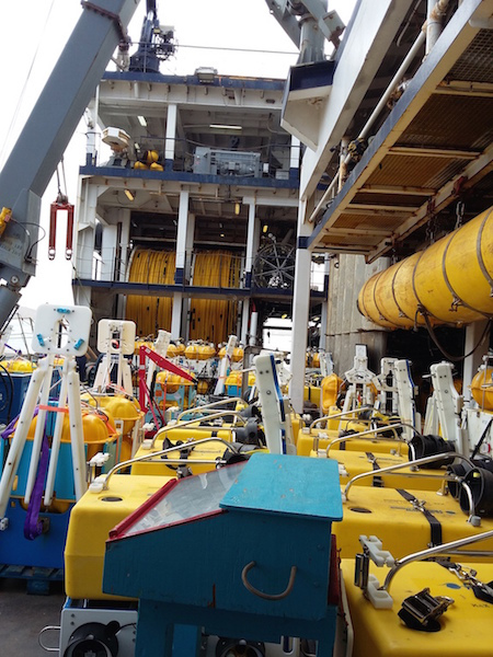 Ships deck loaded with the ocean bottom instruments