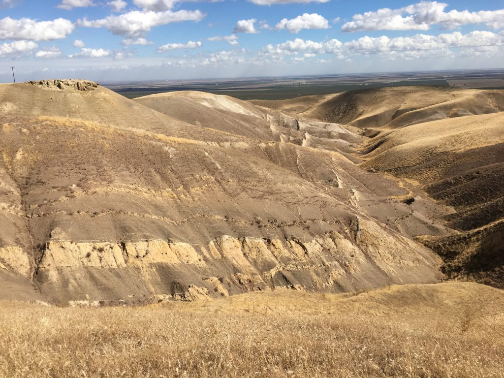 Photograph showing the vast arid landscape of the Panoche Hills, sandstone dykes can be seen extending through the rolling hills for hundreds of metres. A sandstone injectite in the form of a sill can be seen in the foreground.