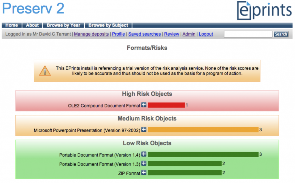 Traffic-light categories of format risks presented in an EPrints repository interface