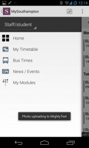 MySouthampton Android quick menu