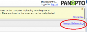 Manage my recordings in Panopto recorder