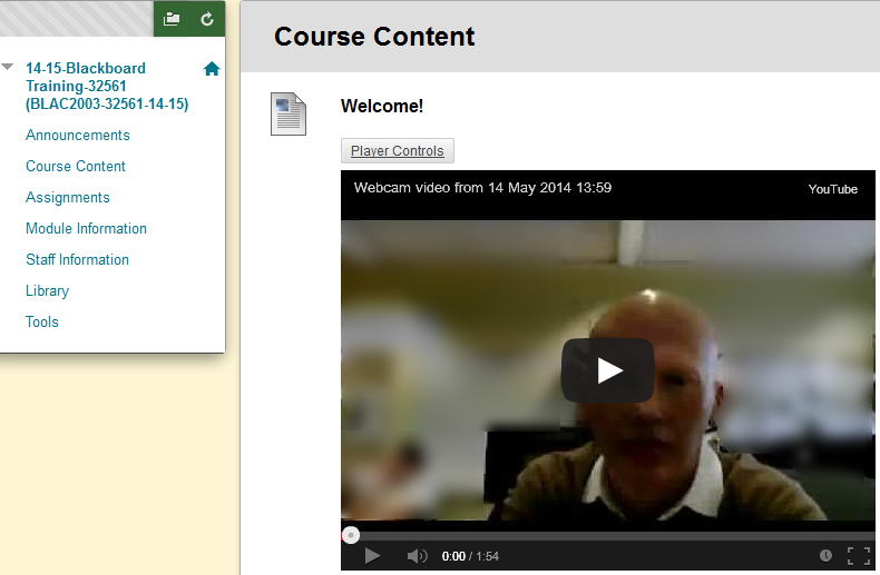 Video within Blackboard course