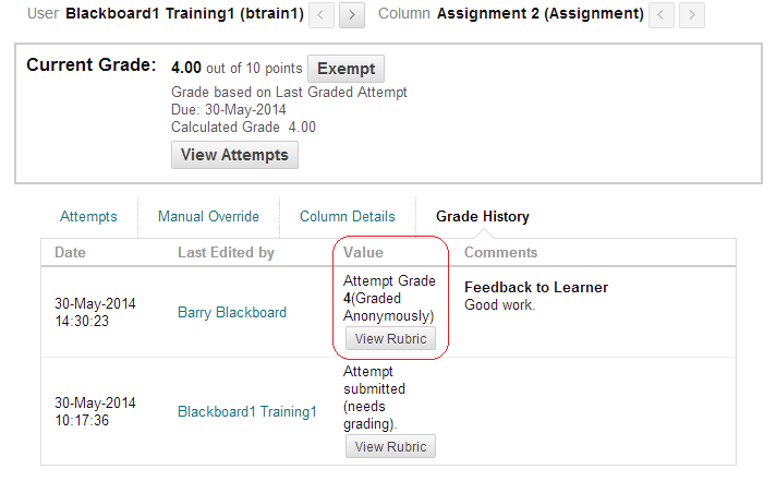 Grade Details page showing anonymously marked assessment