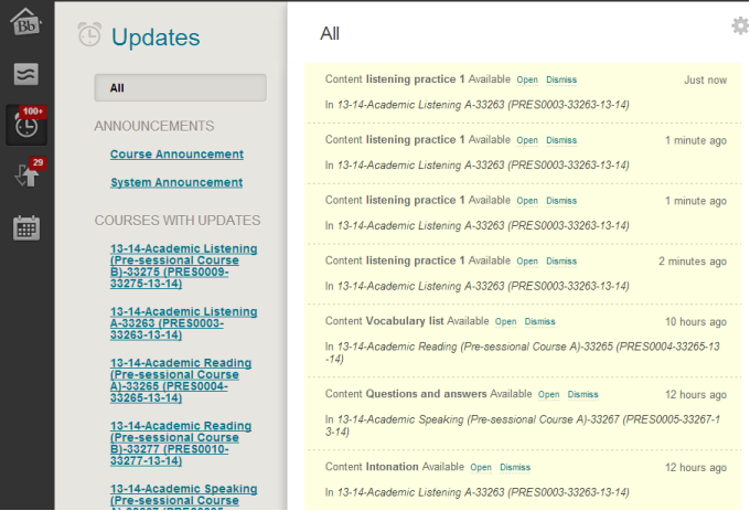 "The ""Updates"" section of The global navigation menu shows you what content has recently been uploaded to your course."