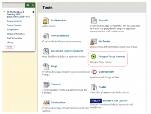 "Another way of accessing recorded sessions is to click on Tools and then ""Panopto Focus Content"""