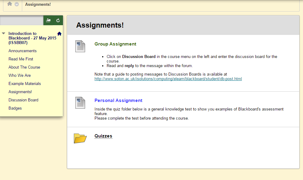 Assignments area