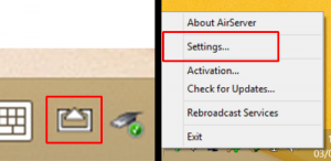 The air server icon is highlighted in the system tray. Next to it is the right click menu with the word settings highlighted.