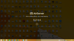 A dimmed desktop screen showing a large AirServer title and the code 5234