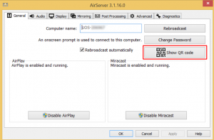 This is the AirServer settings screen. This screen is used to show the QR code needed by AirServer Connect