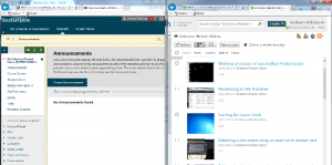 The blackboard site and Panopto site open next to each other