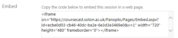 Embed code from Panopto > Settings > Outputs > Embed
