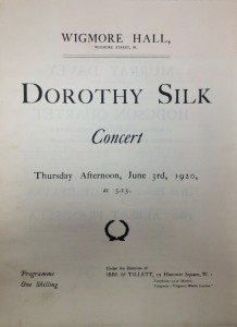 Dorothy Silk Concert Programme, Wigmore Hall, June 3rd, 1920