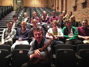 Tim Garland with jazz and pop students in Turner Sims