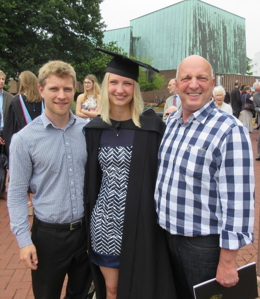 Music and Management graduate Talea Bartlett with husband and dad