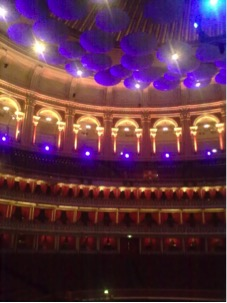 A rarely-seen empty Royal Albert Hall before rehearsals, with its famous acoustic 'mushrooms'