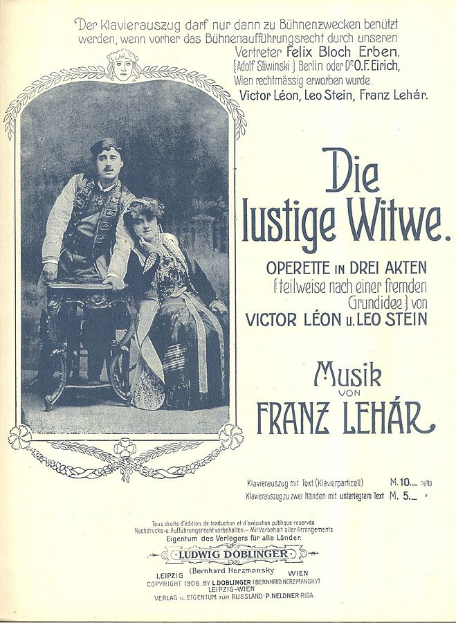 "The title page of Lehar's ""The Merry Widow,"" which took London and New York by storm"