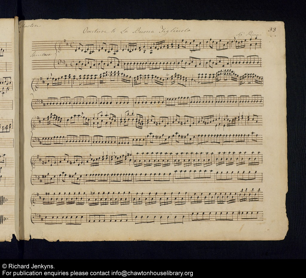 The overture to Piccini's La buona figluola, from one of the newly digitised books