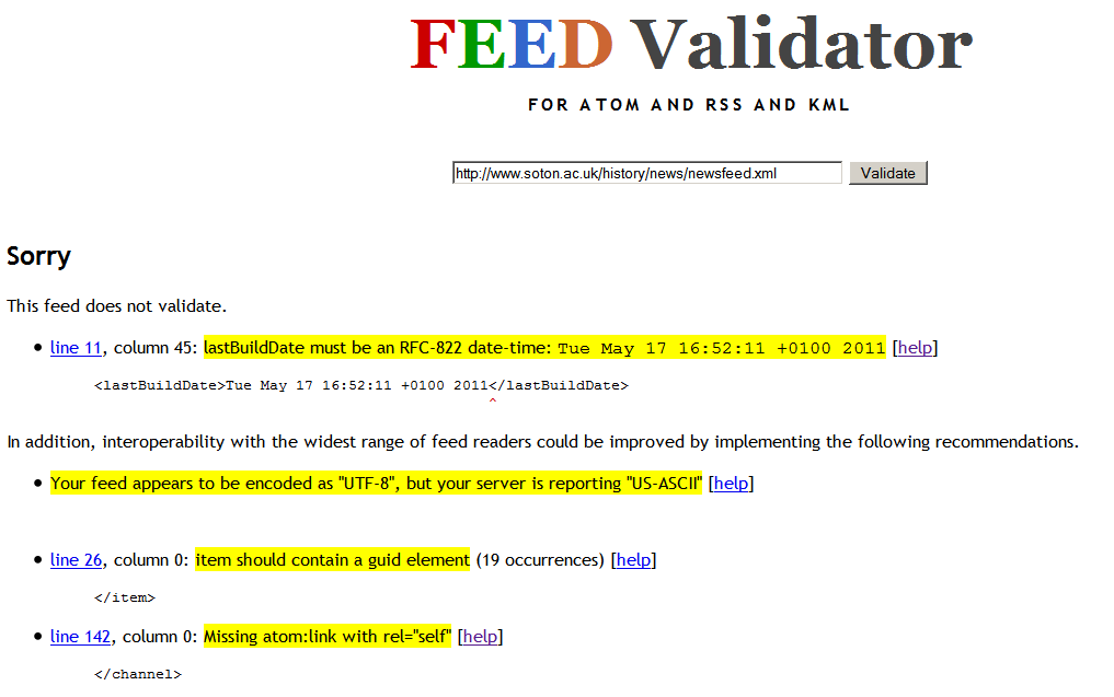 About the Feed Validator