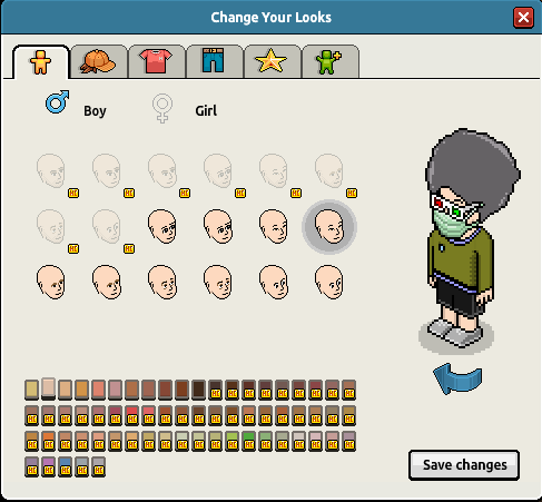 Avatars are human-like, though the entire virtual world is in an isometric view. It may be customised by selecting hair and head style, gender, and clothing.