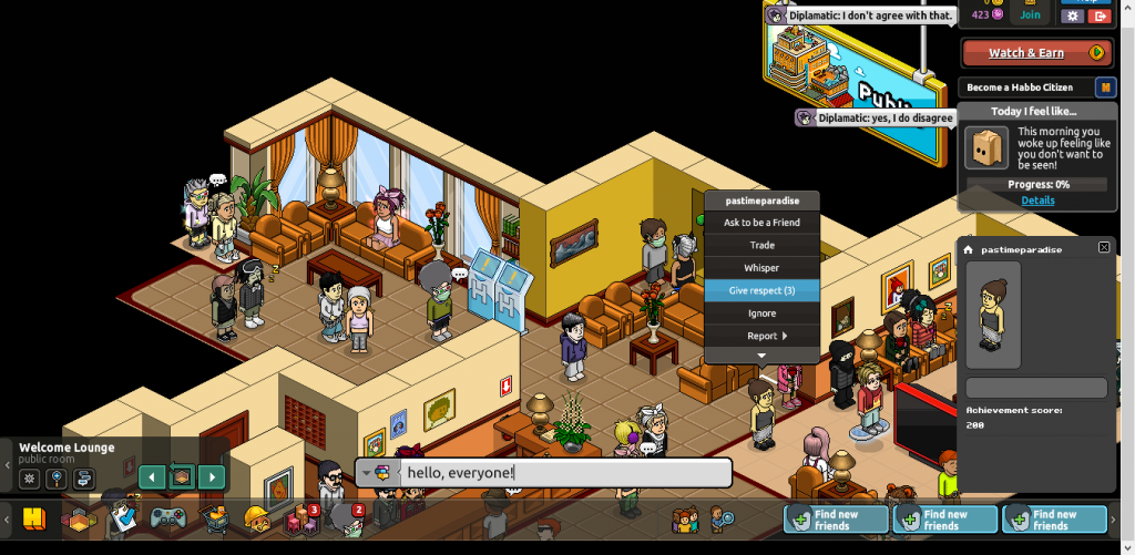 A room within Habbo Hotel