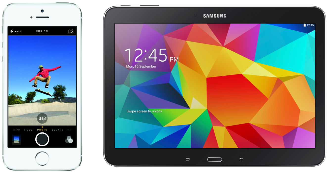 Left: Apple iPhone 5S, displaying images on a full screen colour display. Photo: Apple.  Right: Samsung Galaxy Tab4 10.1, displaying a large colour display. Photo: Samsung.