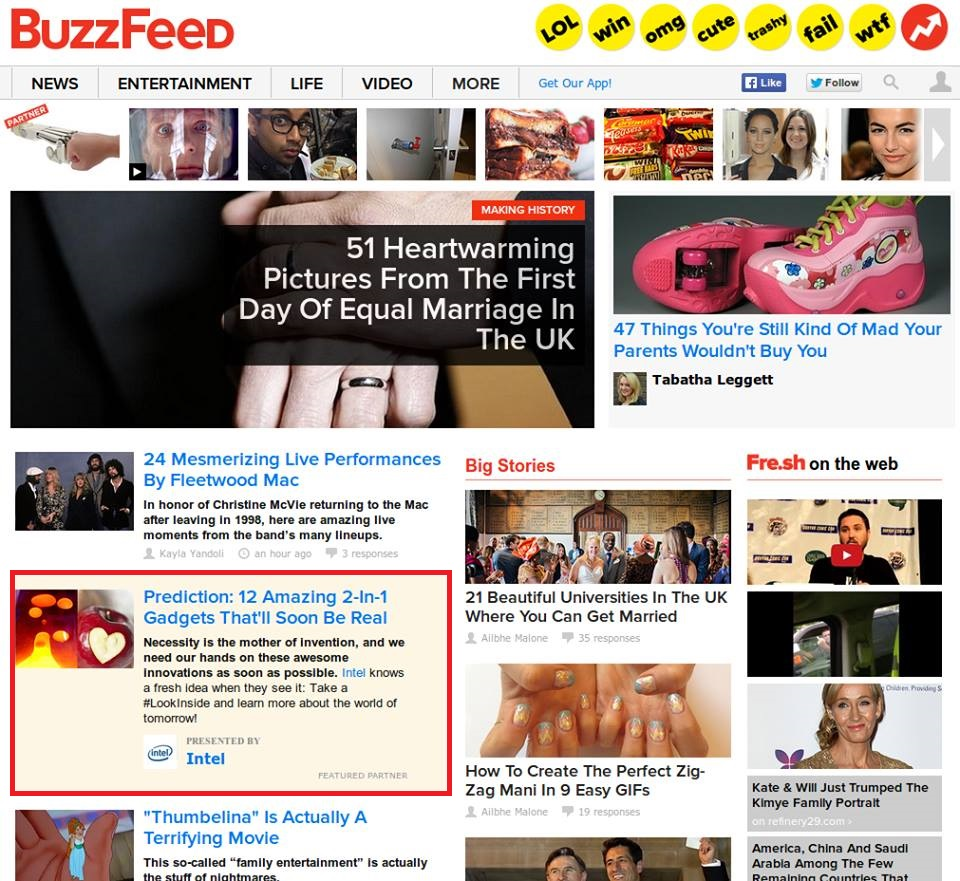 Figure 1: BuzzFeed, an article which is sponsored by Intel