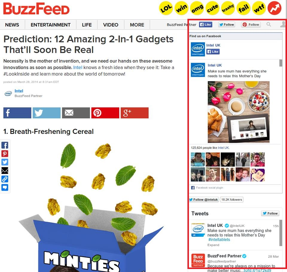 Figure 3: BuzzFeed, social media in an article sponsored by Intel