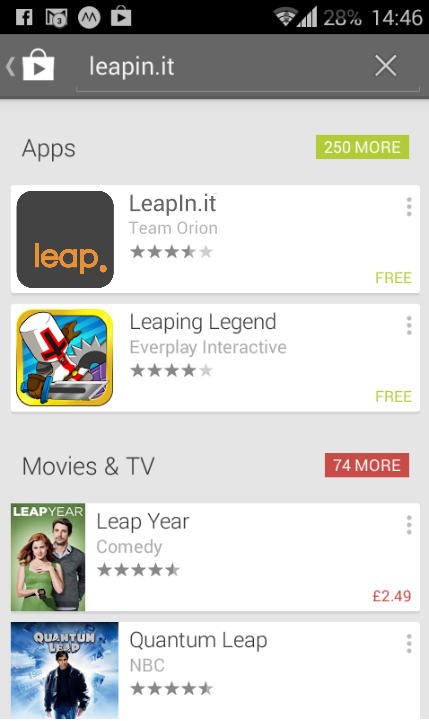 How LeapIn.it might appear in the search results of Google Play.