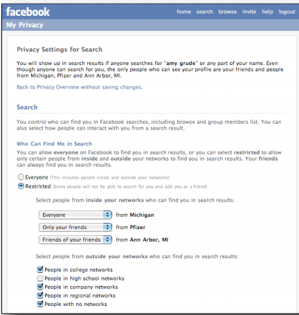 Figure 2: Customization of search results in Facebook [1]
