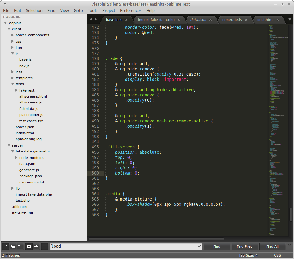 Sublime Text 3, a text editor with syntax highlighting and code completion.