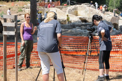 Recording content for the Archaeology of Portus MOOC (Photo: Hembo Pagi/ Portus Project)