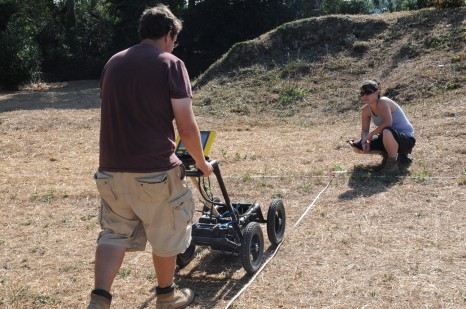 Geophysical survey underway at Portus (Photo: Hembo Pagi/ Portus Project)