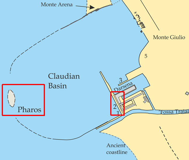 Map showing Portico di Claudio and Pharos