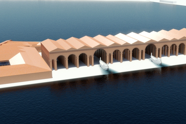 Work-in-progress CGI view of the hypothesised shipshed from the south by Grant Cox