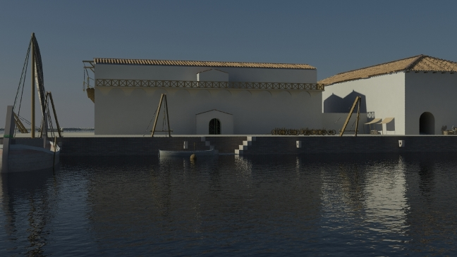 CGI view of a building interpreted from the geophysics on the north side of the Canale di Imbocco al Porto di Traiano by Gareth Beale