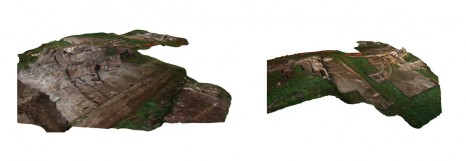 Photogrammetry model of the excavation of Building 1 with the footings of Building 4 and Period 6A defensive wall from 2009