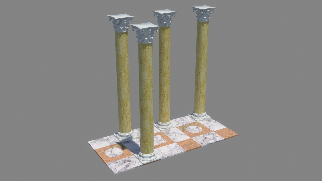 Work-in-progress CGI view of the columns from the *Terraza di Traiano* by Grant Cox