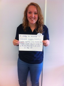 Katie pledging to make sporting experiences more sustainable.