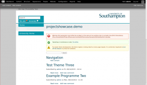 Front page of Drupal site in development, using Southampton theming and with the admin toolbar visible at the top.