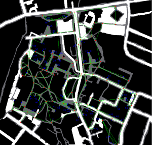 3 colour university map with simplified overlay.