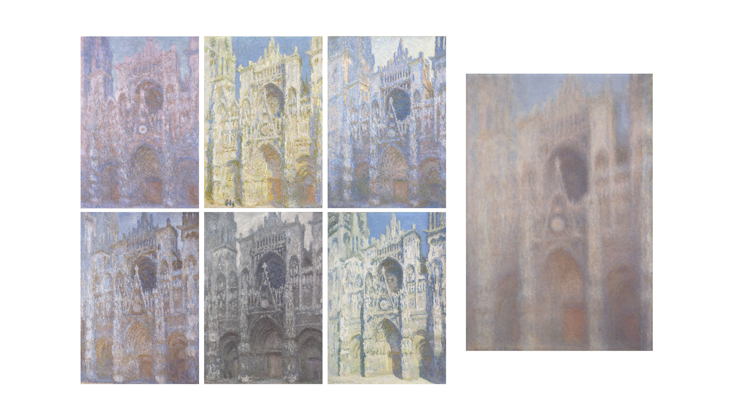 Figure 2. A subset of nearly thirty paintings by Monet of the façade of the Rouen Cathedral (left) and an averaged composite of a subset of the paintings created in Photoshop (right).