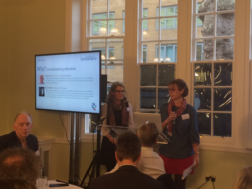 Kate Dickens and Lisa Harris presenting at Futurelearn Partners Event